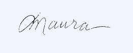 Maura signature floating on blue for website
